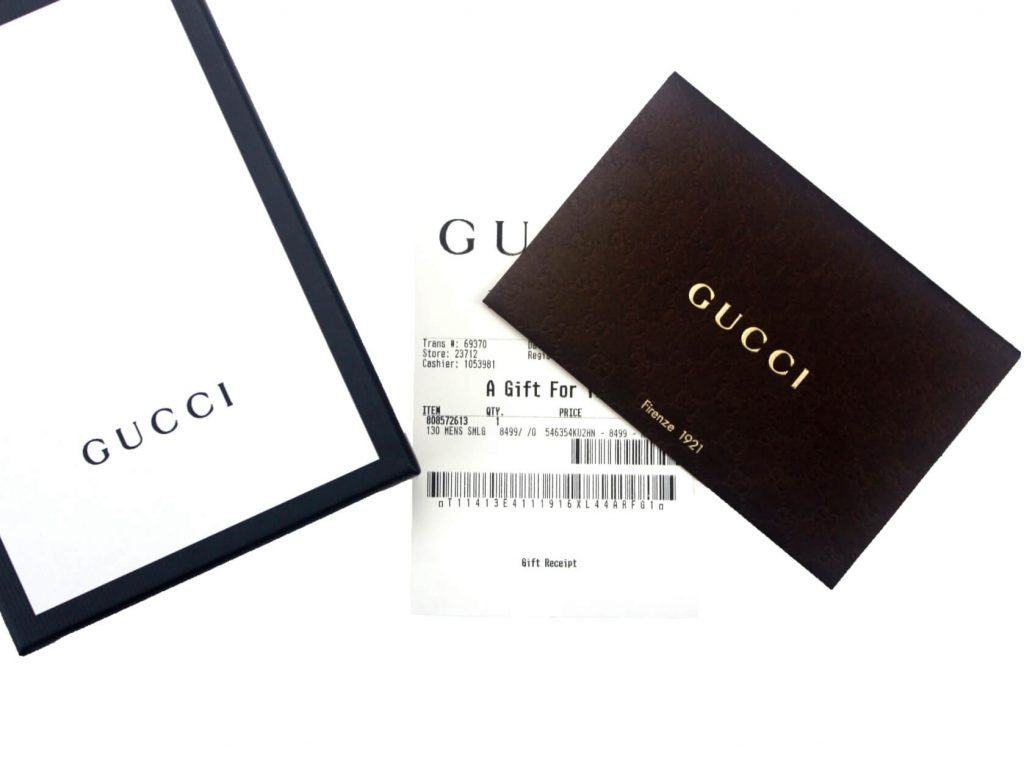 Authenticity certificated by Gucci Gift Receipt
