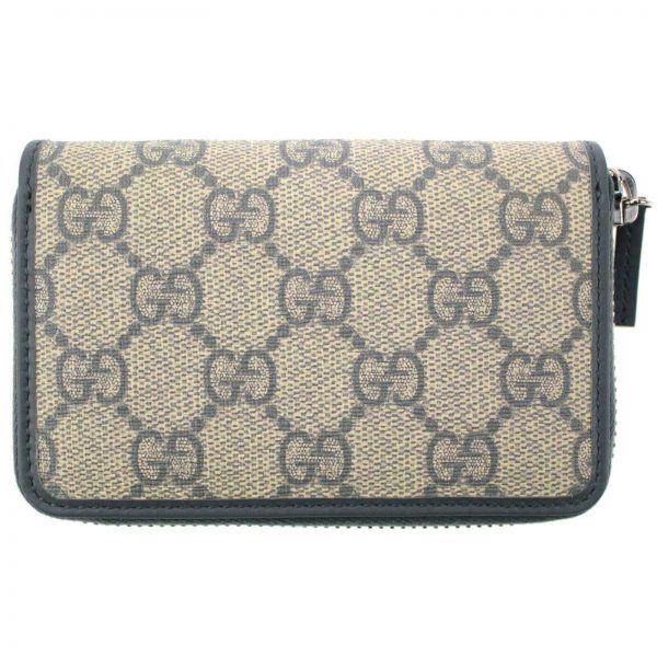 Authentic, New, and Unused Gucci Beige Blue GG Coated Canvas Card Case Wallet 255452 front view