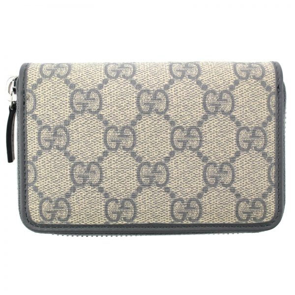 Authentic, New, and Unused Gucci Beige Blue GG Coated Canvas Card Case Wallet 255452 back view
