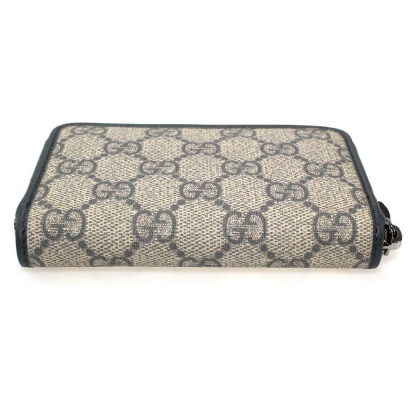 Authentic, New, and Unused Gucci Beige Blue GG Coated Canvas Card Case Wallet 255452 top side view