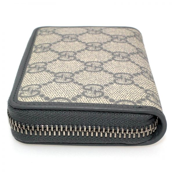 Authentic, New, and Unused Gucci Beige Blue GG Coated Canvas Card Case Wallet 255452 left side view