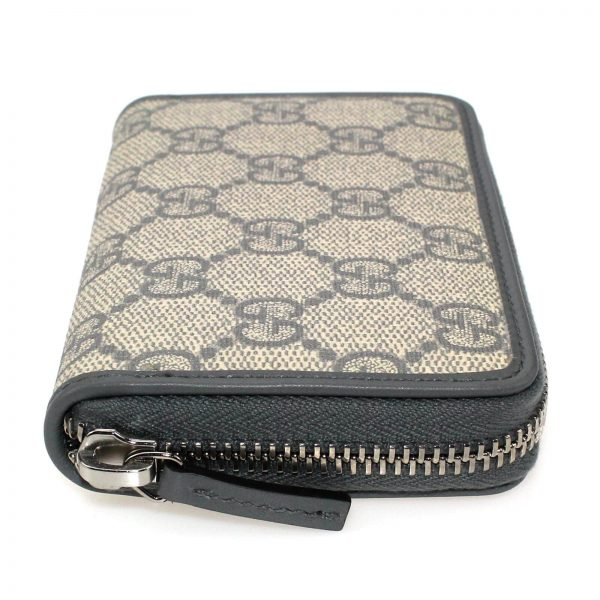 Authentic, New, and Unused Gucci Beige Blue GG Coated Canvas Card Case Wallet 255452 right side view