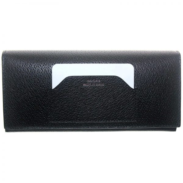 Authentic, New, and Unused Gucci Calfskin Continental Flap Wallet Black 322104 front view