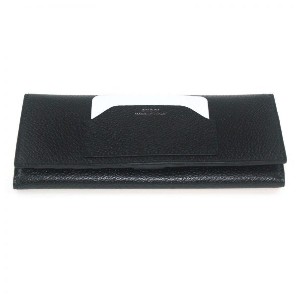 Authentic, New, and Unused Gucci Calfskin Continental Flap Wallet Black 322104 bottom side view