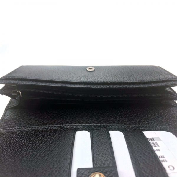 Authentic, New, and Unused Gucci Calfskin Continental Flap Wallet Black 322104 inside