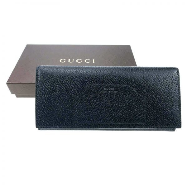 Authentic, New, and Unused Gucci Calfskin Continental Flap Wallet Black 322104 top view with gucci box