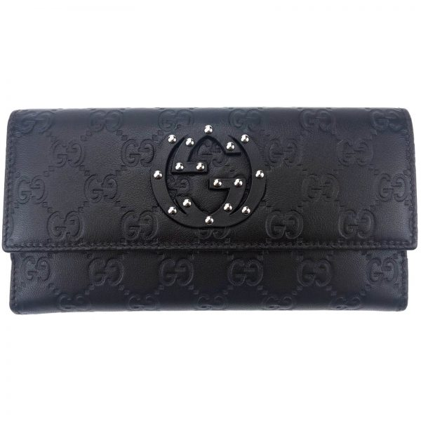 Authentic, New, and Unused Women's Gucci Calfskin Studded Soho Continental Wallet Black 231843 front view