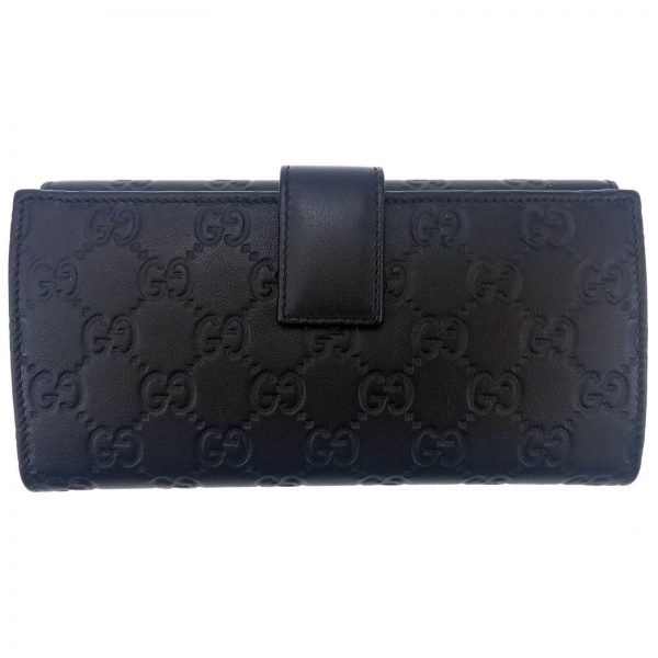 Authentic, New, and Unused Women's Gucci Calfskin Studded Soho Continental Wallet Black 231843 back view