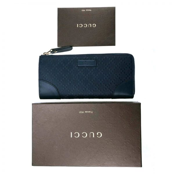 Authentic, New, and Unused Women's Gucci Hilary Lux Diamante Leather Zip Around Wallet 354488 top view with gucci box