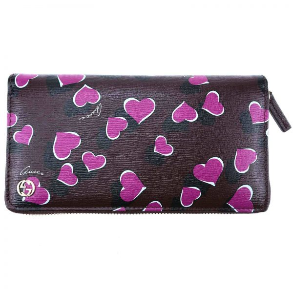 Authentic, New, and Unused Women's Gucci Magenta Heartbeat Print Leather Zippy Long Wallet 309705 front view
