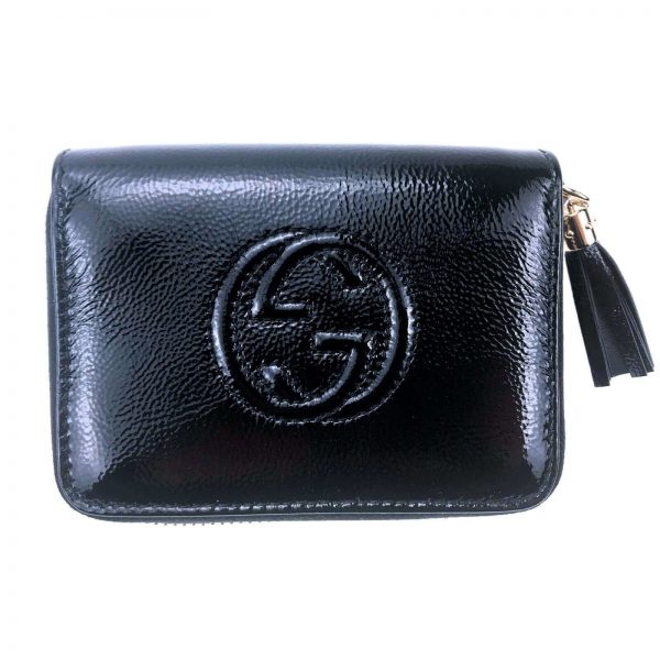 Authentic, New, and Unused Women's Gucci Nubuck Soho Disco Zip Around Wallet Black 351484 front view