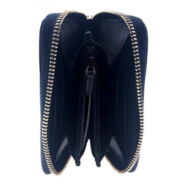 Authentic, New, and Unused Women's Gucci Nubuck Soho Disco Zip Around Wallet Black 351484 interior detail