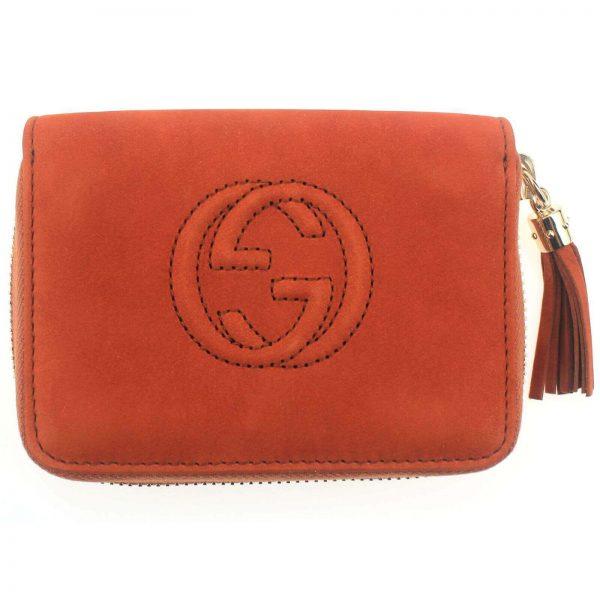 Authentic, New, and Unused Women's Gucci Nubuck Soho Disco Zip Around Wallet Orange 351484 front view