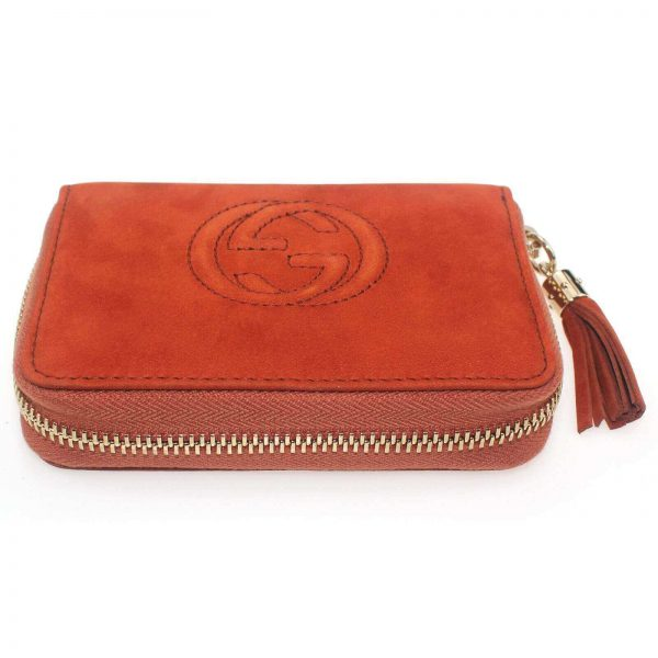 Authentic, New, and Unused Women's Gucci Nubuck Soho Disco Zip Around Wallet Orange 351484 bottom side view