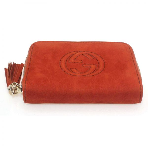Authentic, New, and Unused Women's Gucci Nubuck Soho Disco Zip Around Wallet Orange 351484 top side view