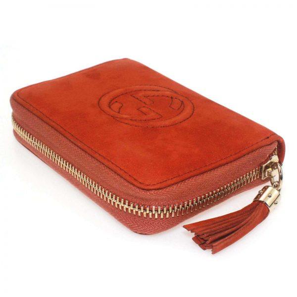 Authentic, New, and Unused Women's Gucci Nubuck Soho Disco Zip Around Wallet Orange 351484 side view