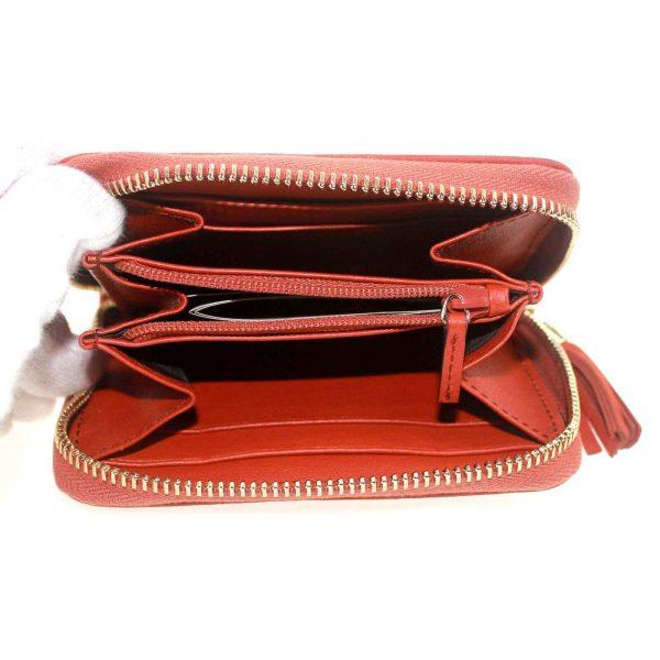 Authentic, New, and Unused Women's Gucci Nubuck Soho Disco Zip Around Wallet Orange 351484 interior detail