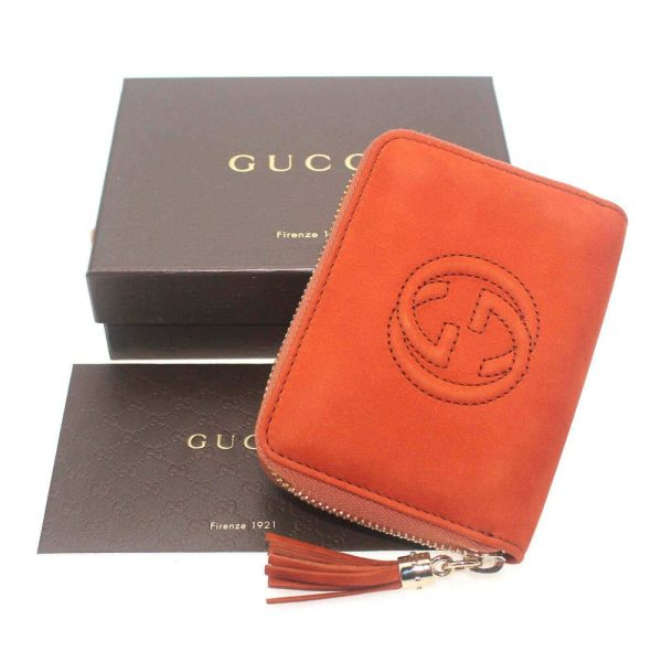 Authentic, New, and Unused Women's Gucci Nubuck Soho Disco Zip Around Wallet Orange 351484 top view with gucci box