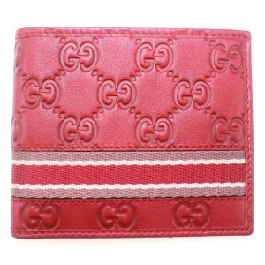 Authentic, New, and Unused Men's Gucci Red Leather GG Guccissima Web Stripe Bifold Wallet 365491 front view