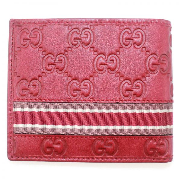 Authentic, New, and Unused Men's Gucci Red Leather GG Guccissima Web Stripe Bifold Wallet 365491 back side view