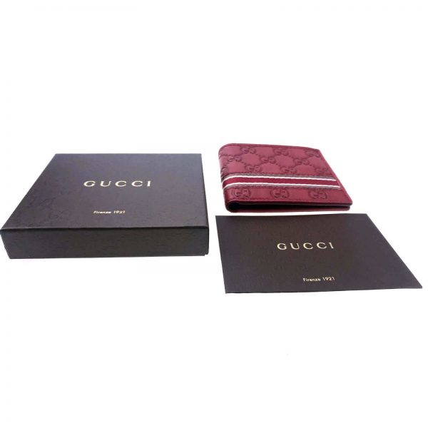 Authentic, New, and Unused Men's Gucci Red Leather GG Guccissima Web Stripe Bifold Wallet 365491 top view