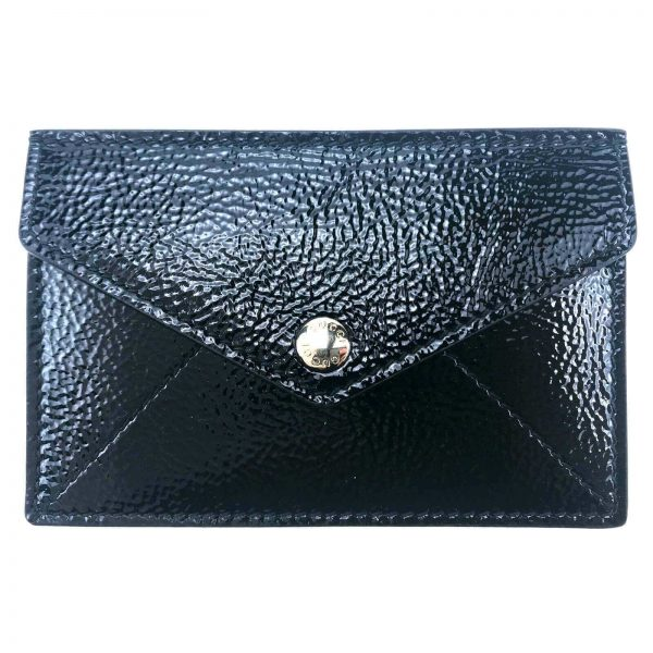 Authentic, New, and Unused Gucci Textured Patent Soho Envelope Card Case Wallet Black 337945 back view