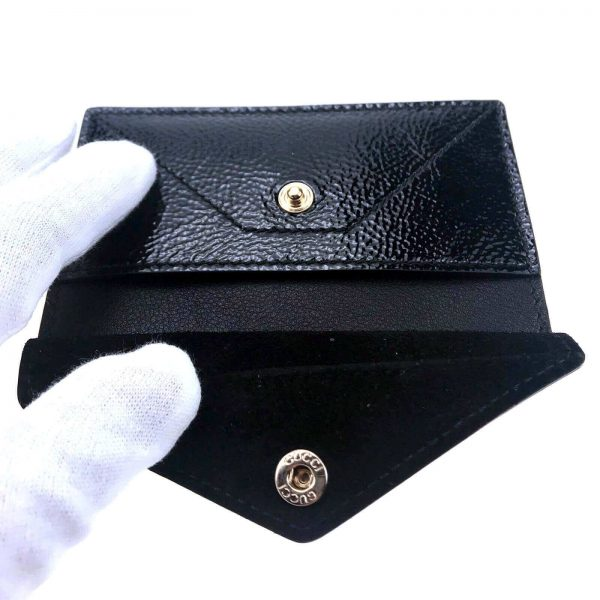 Authentic, New, and Unused Gucci Textured Patent Soho Envelope Card Case Wallet Black 337945 interior detail