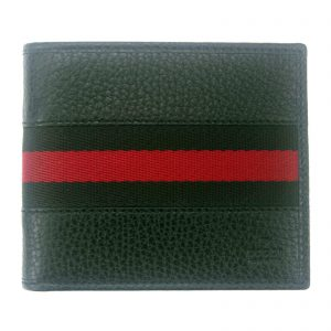 Authentic, New, and Unused Men's Gucci Black Leather With Black Red Stripe Wallet 231845 front view