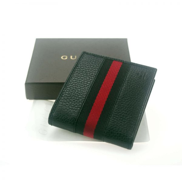 Authentic, New, and Unused Men's Gucci Black Leather With Black Red Stripe Wallet 231845 top view