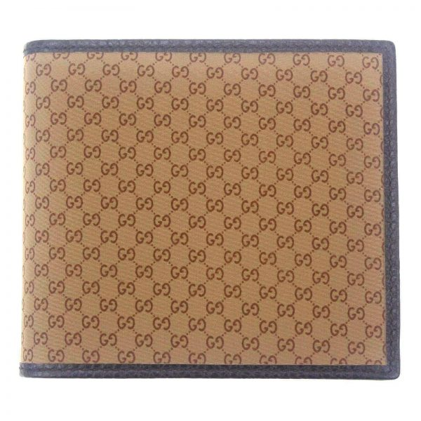 Authentic, New, and Unused Men's Gucci Brown Signature GG monogram wallet 150404 front view