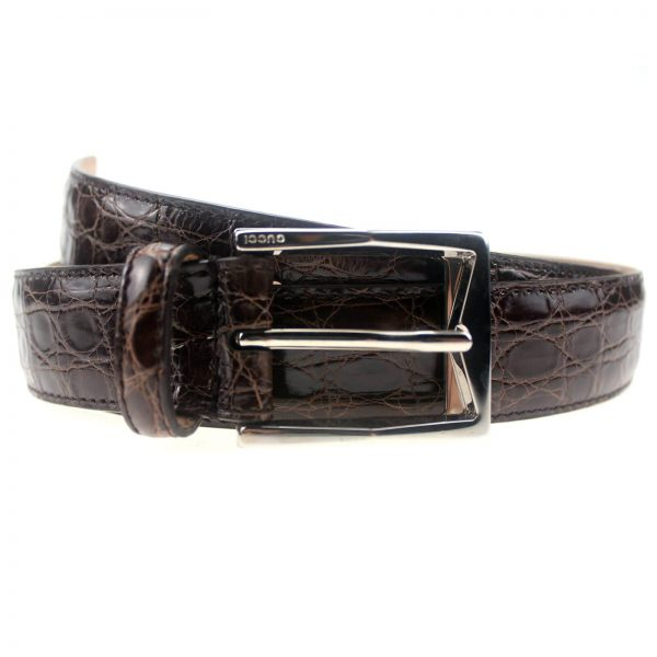 Authentic, New, and Unused Men's Gucci Crocodile Leather Square Buckle Belt 100B Brown 223901 front view