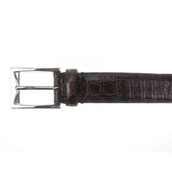 Authentic, New, and Unused Men's Gucci Crocodile Leather Square Buckle Belt 100B Brown 223901 top view