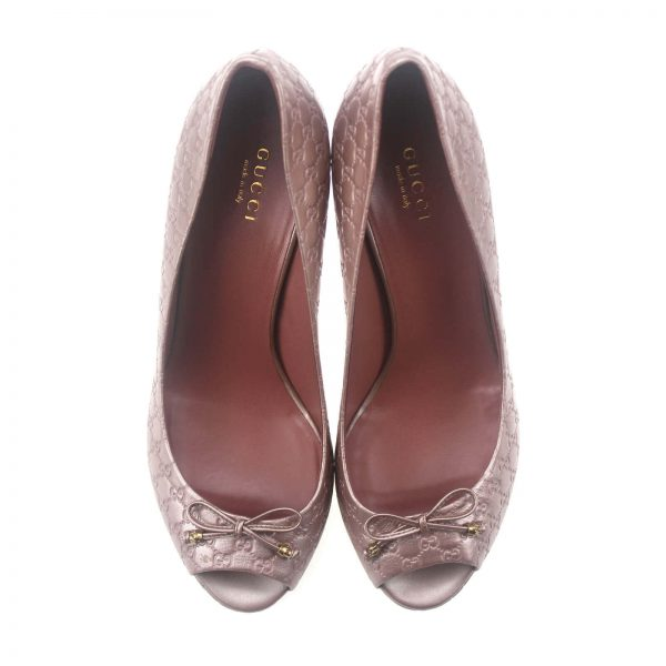 Authentic, New, and Unused Gucci GG Monogram Leather Peep Toe Pumps EU37 US6.5 310346 top view