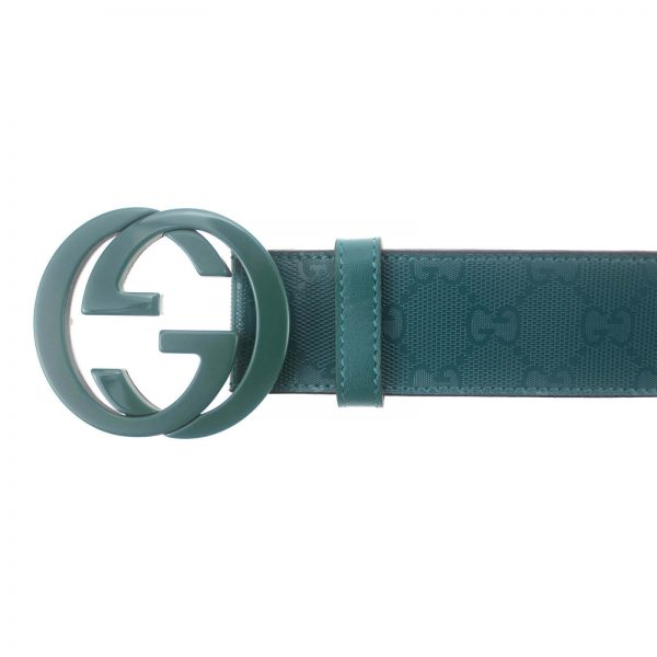 Authentic, New, and Unused Gucci Men's Teal Imprime Interlocking G Buckle Belt 95B 223891 top view