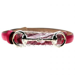 Authentic, New, and Unused Gucci Leather Horsebit Skinny Belt Size84 Fuchsia 282349 front view