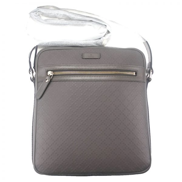 Authentic, New, and Unused Gucci Medium Diamanta Leather Shoulder Bag Grey 201448 front view