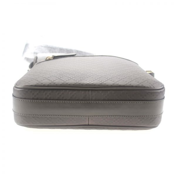 Authentic, New, and Unused Gucci Medium Diamanta Leather Shoulder Bag Grey 201448 bottom view