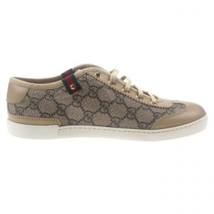 Authentic, New, and Unused Gucci Monogram GG Canvas Leather Sneakers EU35 US4-4.5 Brown 204283 front view