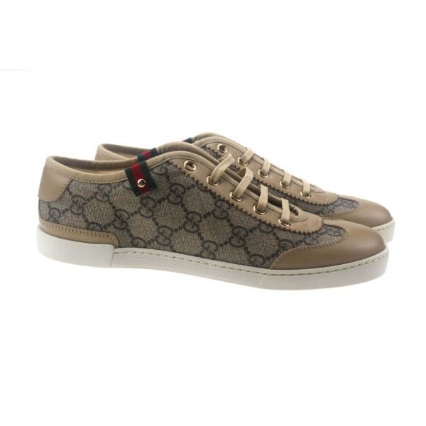 Authentic, New, and Unused Gucci Monogram GG Canvas Leather Sneakers EU35 US4-4.5 Brown 204283 side view