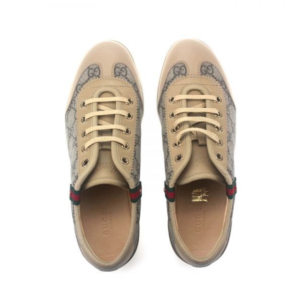 Authentic, New, and Unused Gucci Monogram GG Canvas Leather Sneakers EU35 US4-4.5 Brown 204283 top view