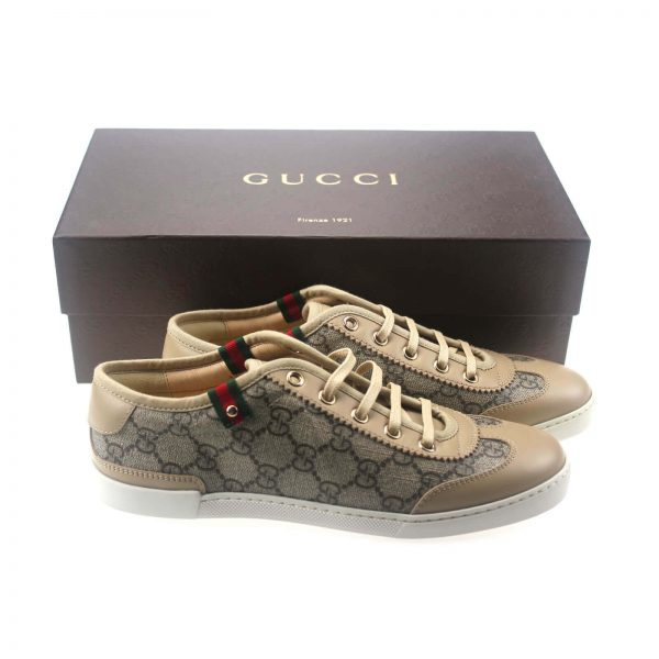 Authentic, New, and Unused Gucci Monogram GG Canvas Leather Sneakers EU35 US4-4.5 Brown 204283 front view with gucci box
