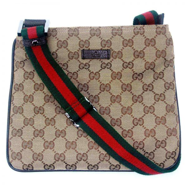 Authentic, New, and Unused Gucci Monogram Web Messenger Bag Brown 146309 front view