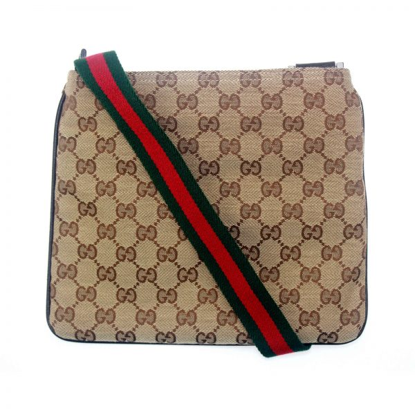 Authentic, New, and Unused Gucci Monogram Web Messenger Bag Brown 146309 back view