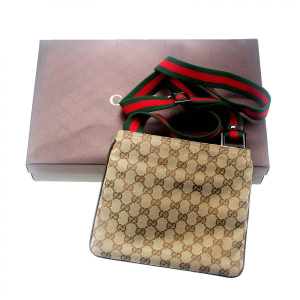 Authentic, New, and Unused Gucci Monogram Web Messenger Bag Brown 146309 top view with gucci box