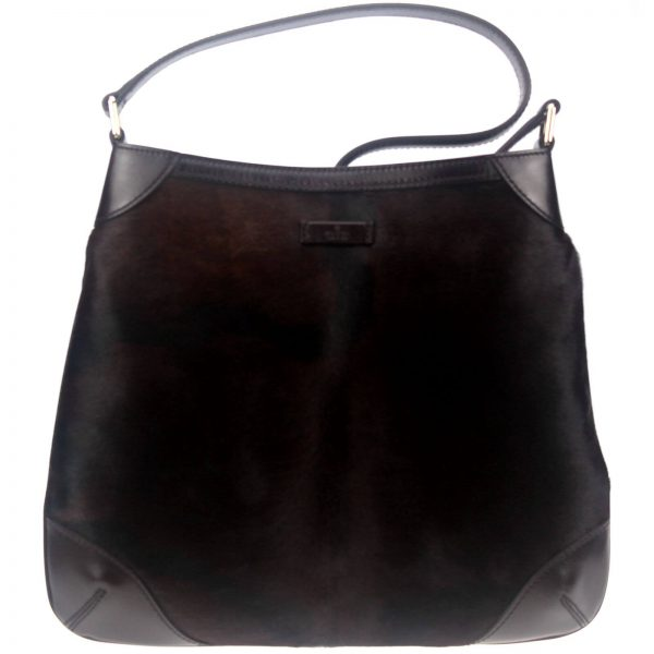Authentic, New, and Unused Gucci Pony Hair Hobo Handbag Brown 257296 front view