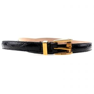 Authentic, New, and Unused Gucci Bamboo Buckle Brown Skinny Crocodile Belt 85B 339065 front view