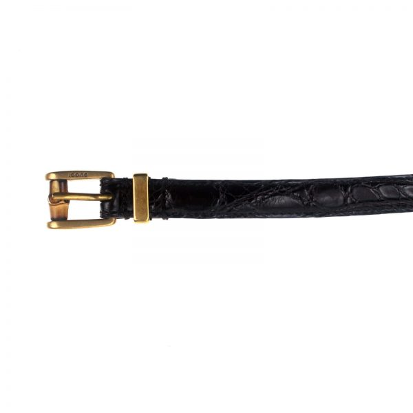 Authentic, New, and Unused Gucci Bamboo Buckle Brown Skinny Crocodile Belt 85B 339065 top view