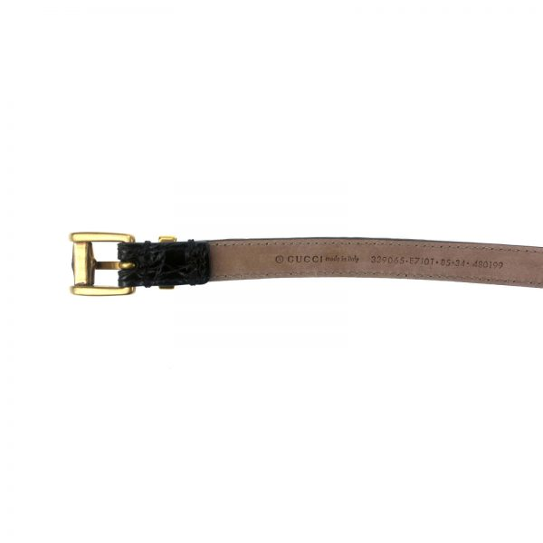 Authentic, New, and Unused Gucci Bamboo Buckle Brown Skinny Crocodile Belt 85B 339065 bottom view with serial number
