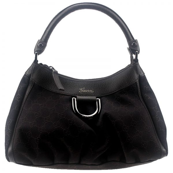 Authentic, New, and Unused Gucci Black Denim Silver D Ring Hobo Handbag 265692 front view