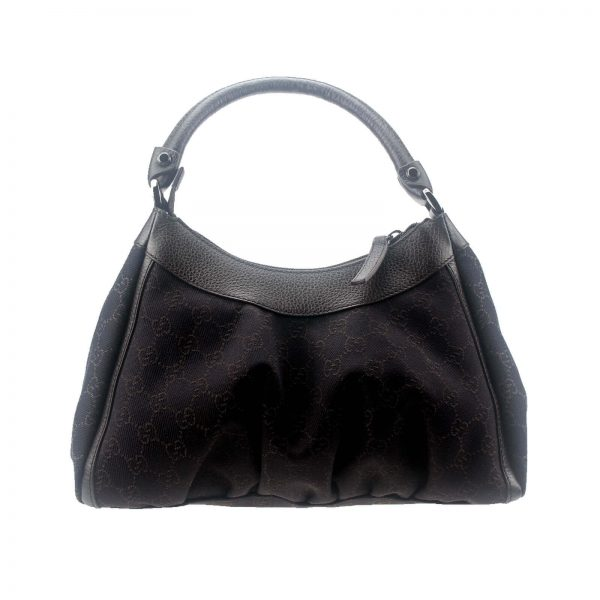 Authentic, New, and Unused Gucci Black Denim Silver D Ring Hobo Handbag 265692 back view
